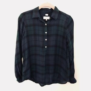 LOFT Petite Plaid Button Down Long Sleeve Blouse